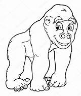 Gorilla Coloring Pages Cartoon Silverback Angry Printable Template Drawing Depositphotos Colorings Print sketch template