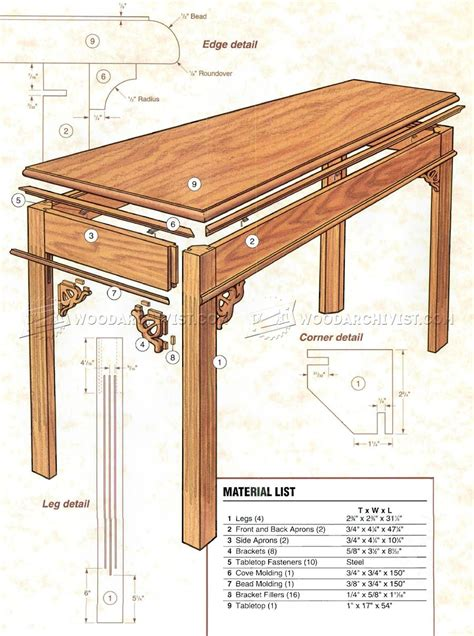 sofa table plans woodarchivist