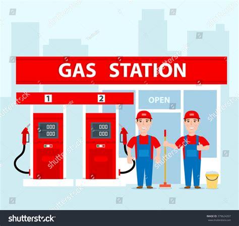 gap inc portal help desk gas station workers uniform concept illustration stock