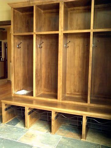 ldk custom wood lockers  mudroom  wire pull