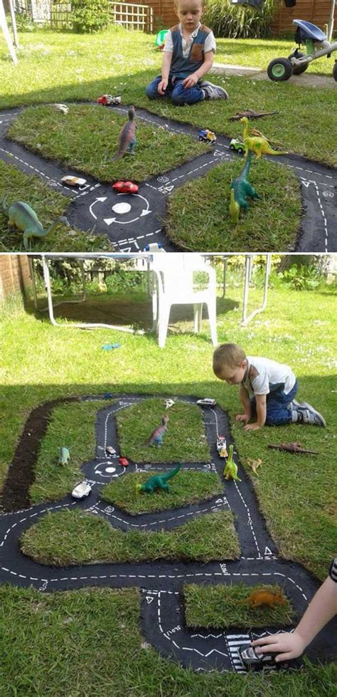 diy backyard projects surprise cool yard outdoor play outside garden fun easy awesome area playground track children playing cars source