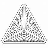 Coloring Illusion Geometric Optical Pyramid 3d Printable Illusions Drawing Adults Shape Geometry Adult Pyramids Shapes Triangle Line Egyptian Mandala Drawings sketch template