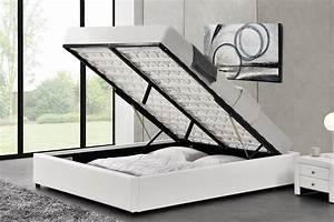 Cadre Lit Avec Rangement : cadre de lit simple avec coffre de rangement kennington blanc 160 concept usine ~ Teatrodelosmanantiales.com Idées de Décoration