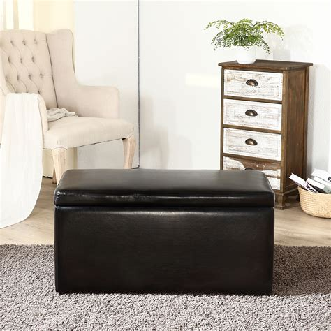 Best Ottomans by 3pc Contemporary Brown Black Leather Tray Top Nested