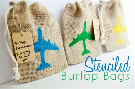 craftaholics anonymous easy stenciled burlap bags
