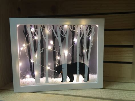 8x10 black bear lighted shadow box home decor nightlight