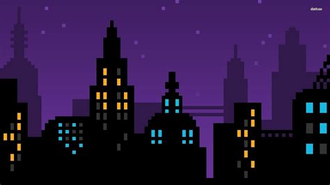 Hd Pixel Picture by Pixel Pixels Purple Skyline Cityscape City Blue