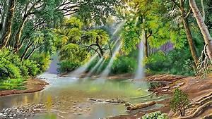 Landscape, Nature, River, Trees, Sunlight, 85633