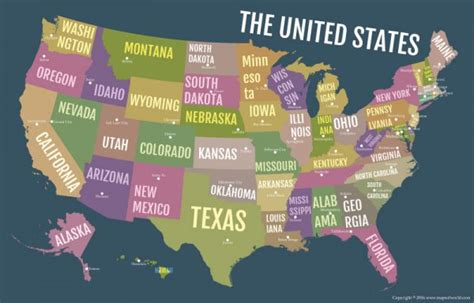 buy usa bold state names poster map