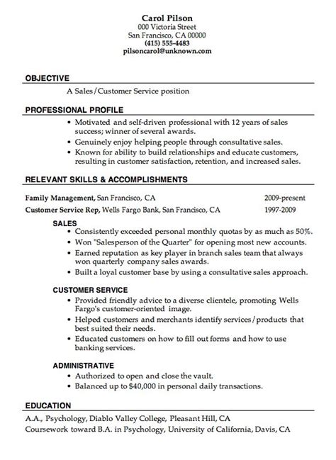 How To Make Cv For Sle by Resume Sle Sales Customer Service Resumes