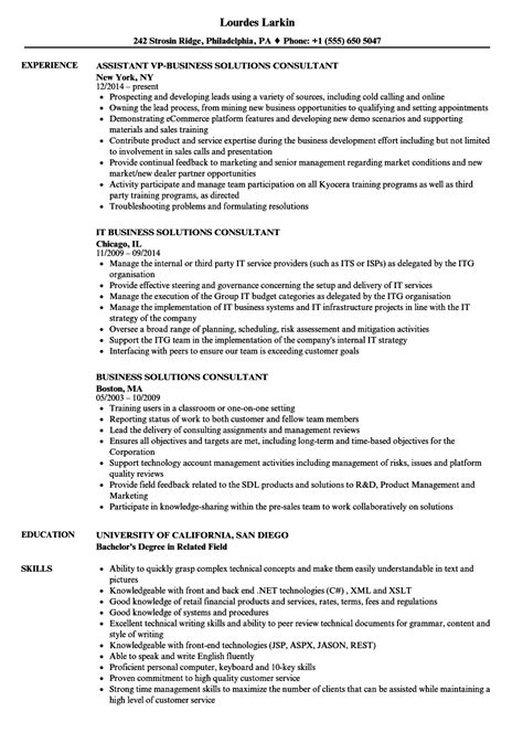 Business Consultant Resume by Business Solutions Consultant Resume Sles Velvet