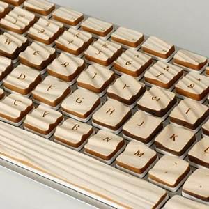 Engrain tactile keyboard uses wood grain to form a connection for Engrain tactile keyboard