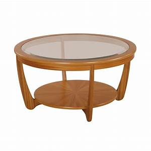 Nathan shades teak glass top round coffee table dining for Circular glass top coffee table