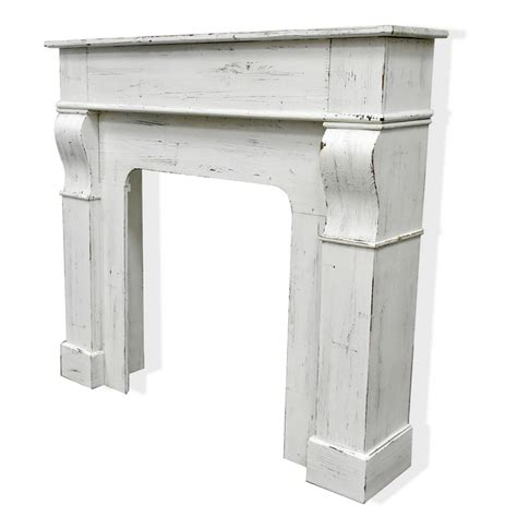 luckywind rustic farmhouse french style decorative distressed white wooden fireplace mantel