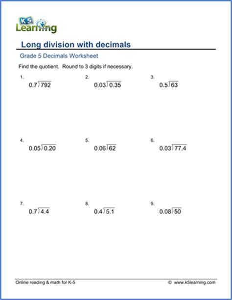 grade  math worksheet decimal long division  learning