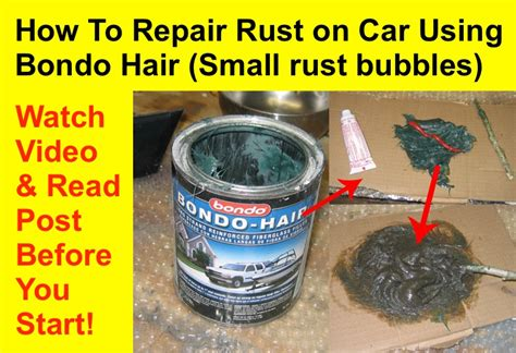 how to refurbish a how to repair rust on car using kitty hair or bondo hair