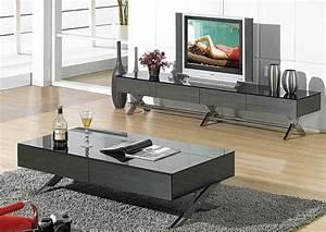 Table Tv But : modern glossy gray tv stand cr059 tv stands ~ Teatrodelosmanantiales.com Idées de Décoration