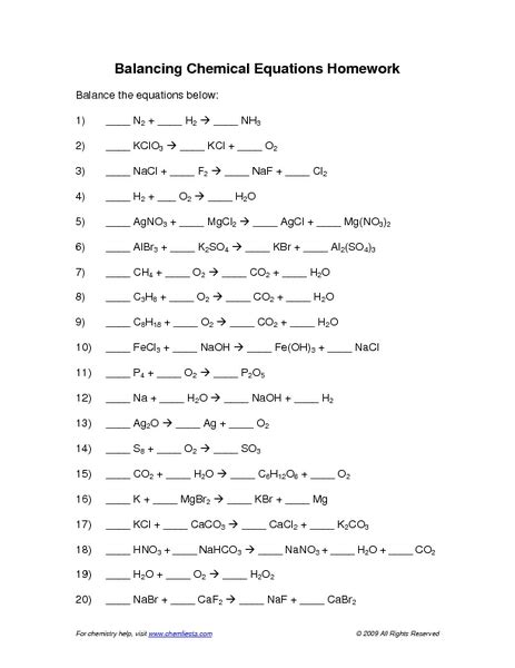 chemical equation worksheet equations