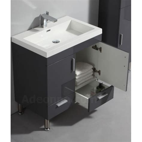 meuble salle de bain gris laque meuble de salle de bain 2 portes 2 tiroirs 224 poser gris laqu 233