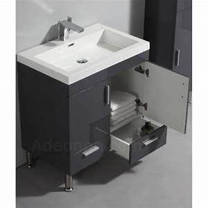 Meuble De Salle De Bain Gris : meuble de salle de bain 2 portes 2 tiroirs poser gris ~ Dailycaller-alerts.com Idées de Décoration