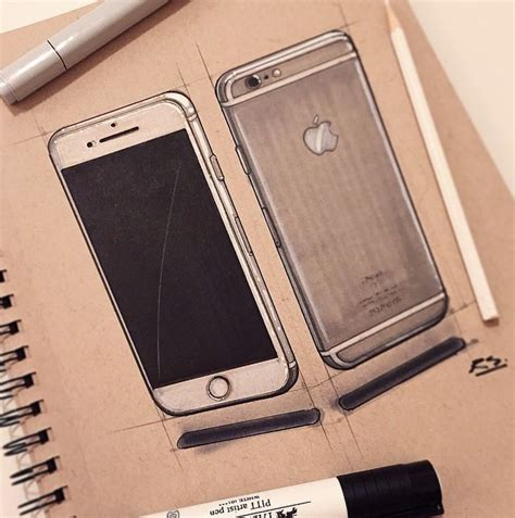 iphone  sketch rendering portfolio industrial design