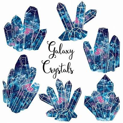 Crystal Clipart Crystals Galaxy Clusters Watercolor Gems