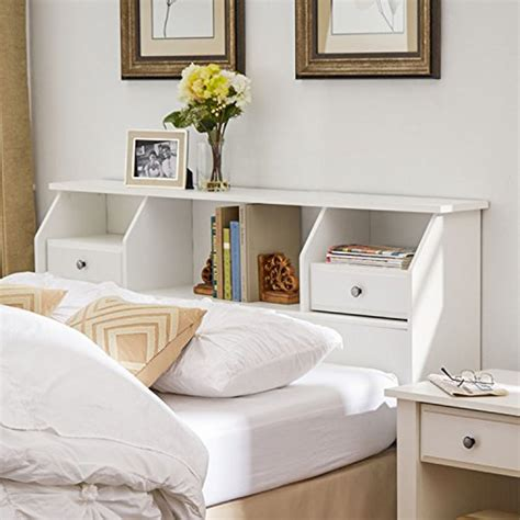 Size White Storage Bed With Bookcase Headboard by Revere Headboard With Storage Size