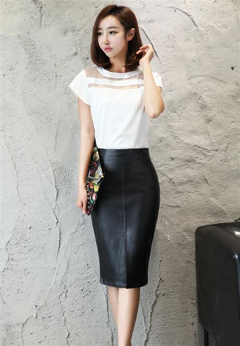 Plus Size S-4Xl Leather Skirt Winter 2016 Fashion Black Knee Length Pencil Skirt Slim Office ...