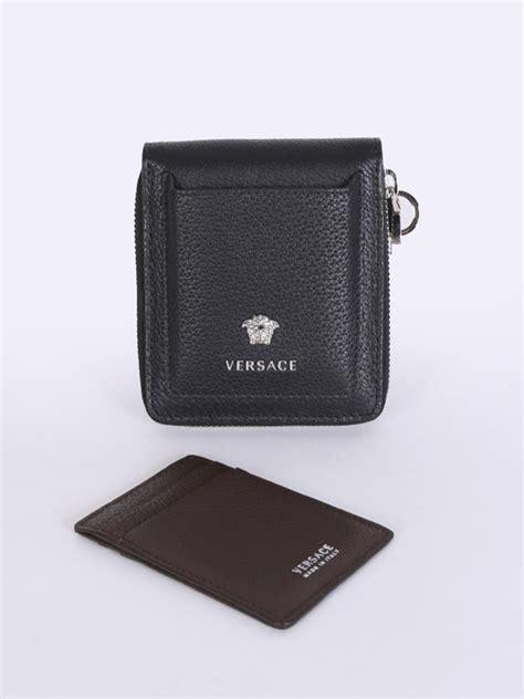 versace leather zippy men wallet  card case black