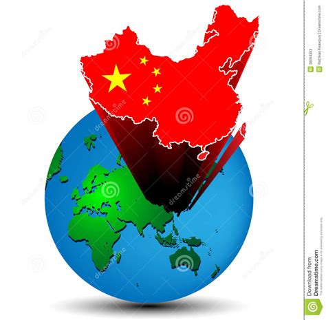 Flag China Map On The Earth Stock Vector Image 36094353