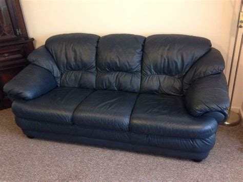 Navy Blue Leather Sofa And Loveseat by Navy Blue Leather Three Seater Sofa And 2 Armchairs In