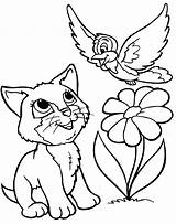 Coloring Pages Animal Cartoon Animals Printable Colouring Dogs Kitty sketch template