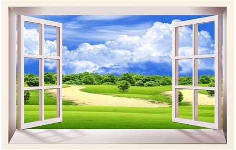 Customize 3d Window Woods Park Wallpaper Wall Sticker