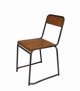 Chaise Industrielle Metal : chaise industrielle bois et m tal style vintage ~ Teatrodelosmanantiales.com Idées de Décoration