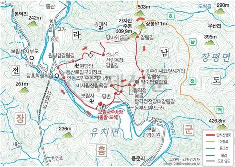장흥 가지산(509.9m) 등산코스(등산지도
