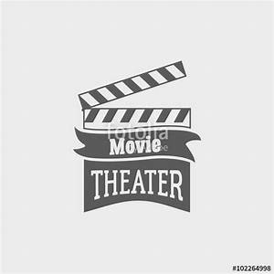 """Movie theater vector logo with slate board for shooting ..."