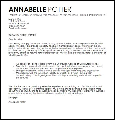 Cover Letter For Audit Trainee by Quality Auditor Cover Letter Sle Livecareer