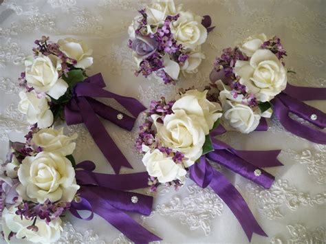 silk flower bouquet  silk lilacs  realtouch rose