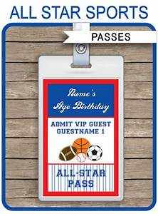 Ticket Printing Templates All Star Sports Party Vip Passes Template Party Favors