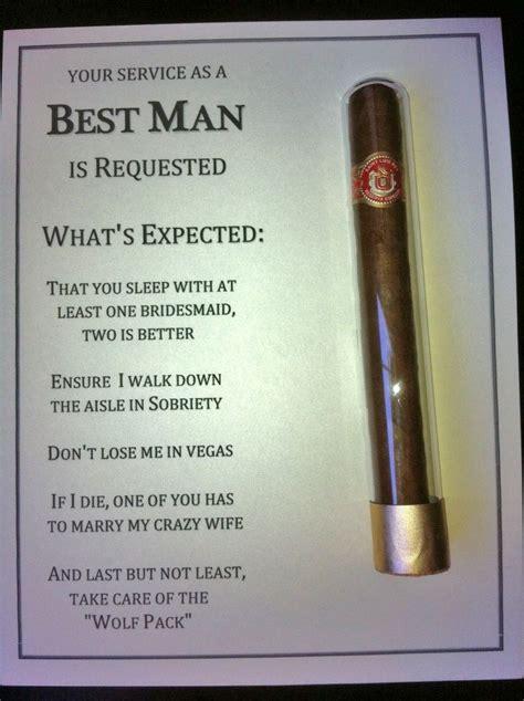 diy  man groomsman invites  cigar