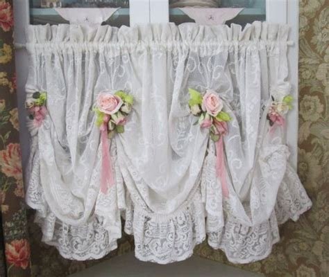 shabby chic ruffled lace valance swag curtain pink roses