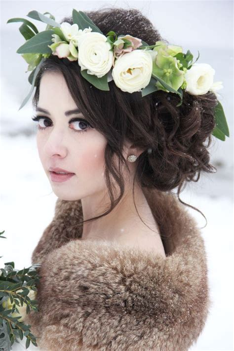 Curly Updo White Flower Crown Wedding Hairstyle MODwedding