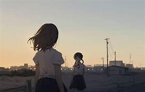 Anime, Anime, Girls, School, Uniform, Original, Characters, Short, Hair, Wallpapers, Hd, Desktop, And