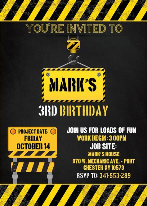 construction birthday invitation templates editable
