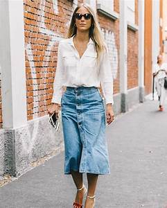 9 Denim-Skirt Outfits for Fall | WhoWhatWear
