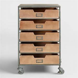 Wood and Metal 5-Drawer Frederick Rolling Cart World Market