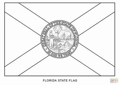 Flag Florida Coloring Pages State Printable Seal