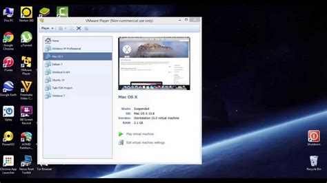 run mac os   windows  vmware player