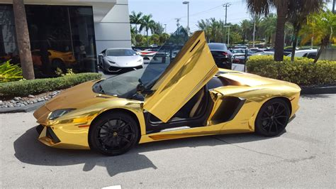 gold lamborghini aventador roadster lp  start  drive delivery  lamborghini miami youtube