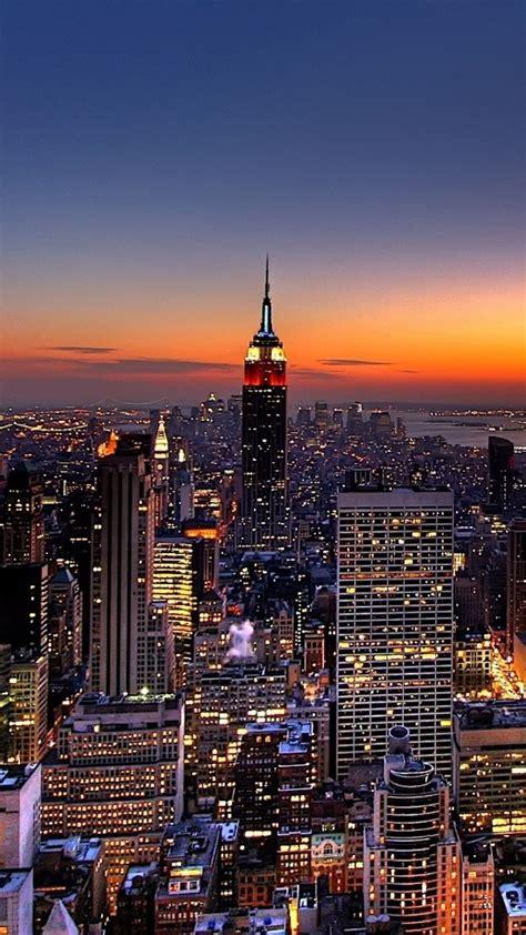 wallpaper  york night skyscrapers top view